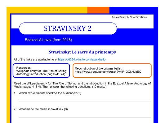 Edexcel Music A level (from 2016) Stravinsky worksheet 2