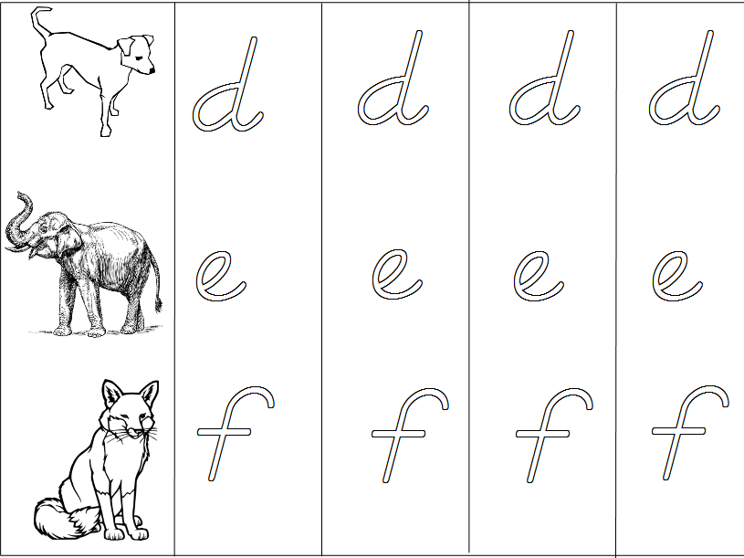 Animal Alphabet - D'Nealian Handwriting Practice