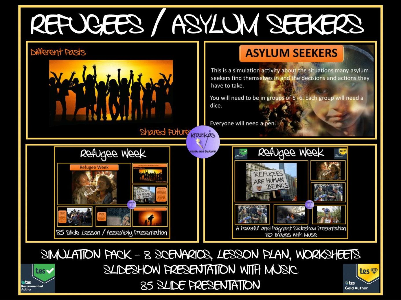 Refugee Week / Day Bundle - Two PowerPoint Presentations, Lesson Plan, Simulation Activity, Worksheets