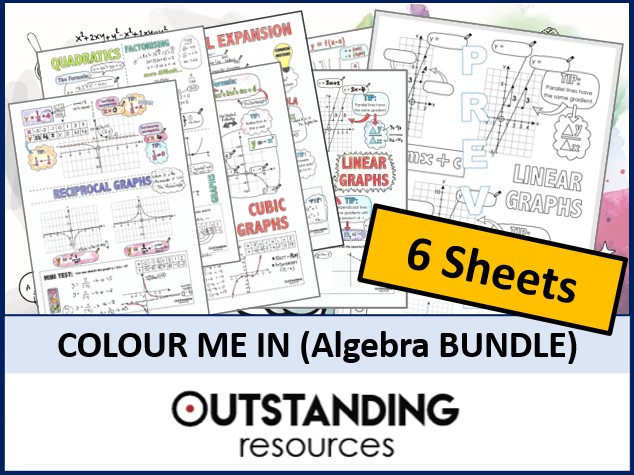Colour Me In Sheets or Doodle Notes (ALGEBRA and GRAPHS BUNDLE)