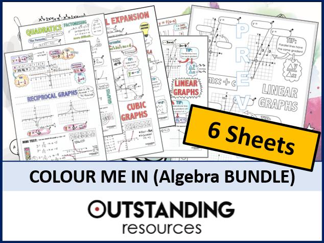Colour Me In Sheets or Doodle Notes (ALGEBRA BUNDLE)