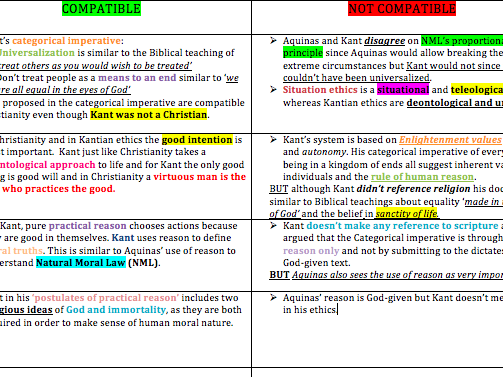 Religious Studies A-level Dialogues AQA Kant and Christianity