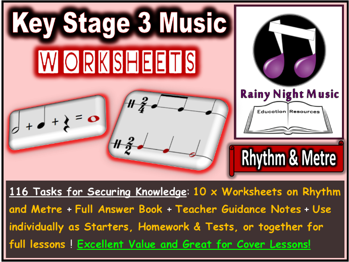 Music Worksheets Rhythm and Metre Distance Learning