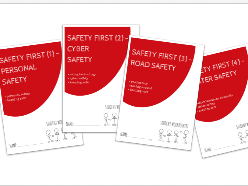 SPECIAL EDUCATION bundle - SAFETY FIRST - PERSONAL, CYBER, ROAD & WATER SAFETY x4 workbooklets