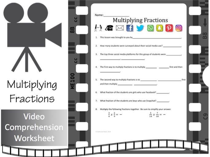 Multiplying Fractions --Video Comprehension Activity