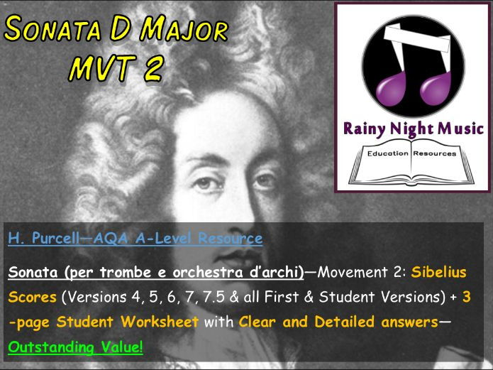 AQA A LEVEL MUSIC SET WORKS Full Teaching and Learning Work Pack for MVT 2 of SONATA in D by PURCELL