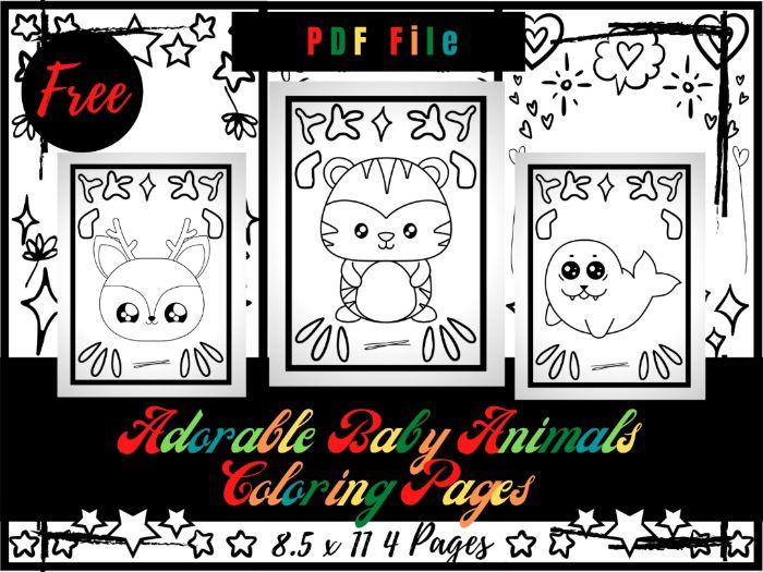 FREE Adorable Baby Animals Coloring Pages For kids, Free Funny Animals Coloring Sheets PDF
