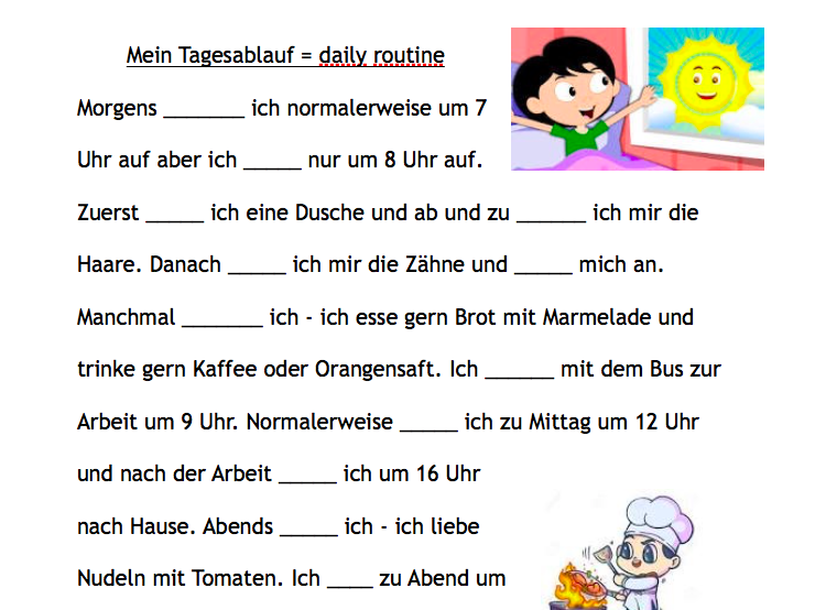 GCSE German- talking about my Daily Routine