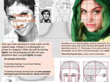 Portrait drawing: scaling up using a grid, drawing parts of a face, tonal value pencil and pen marks