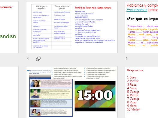 AQA 9-1 GCSE Spanish Kerboodle 6.1H La importancia de hacer obras benéficas 2 lessons
