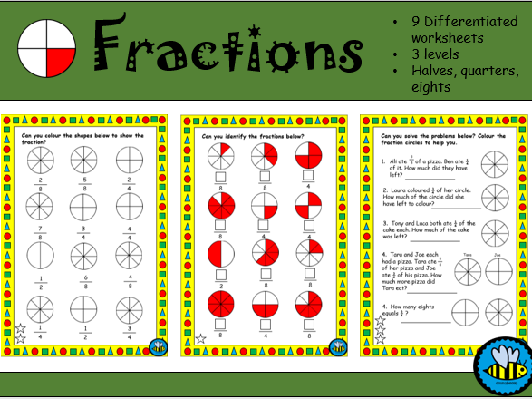 Fractions; halves, quarters and eights