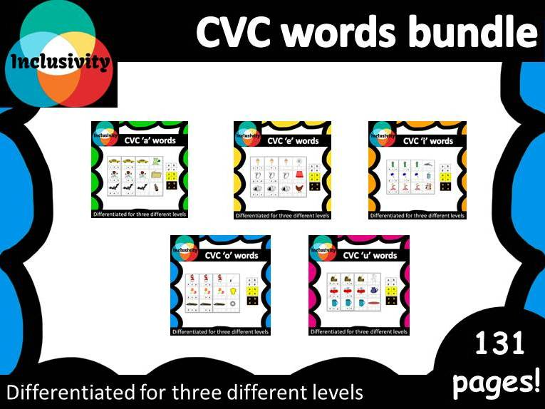 CVC a, e, i, o, u spelling words; matching letters, sounds and picture cards