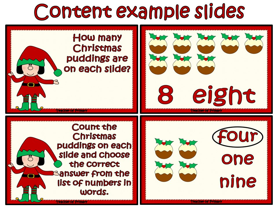 Christmas Counting -EYFS/KS1 animated Powerpoint presentation and worksheets