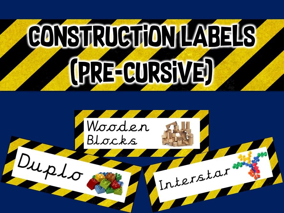 Construction Area Resource Labels - Pre Cursive