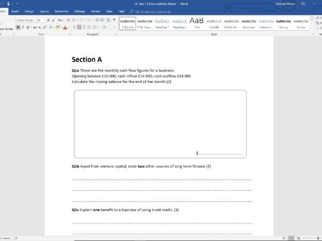 End of Topic Test - Topic 1.3 - Edexcel GCSE Business