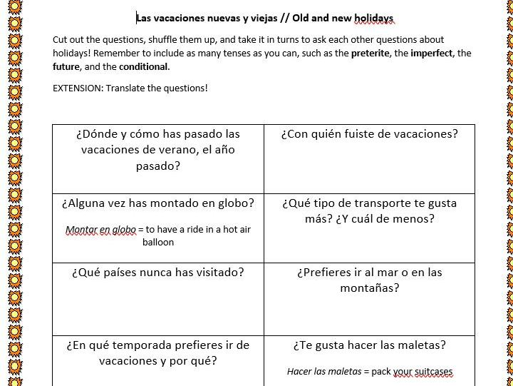 Spanish Speaking Practice - Holidays
