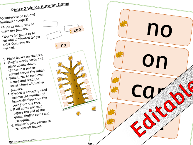 Phase 2 Phonics/Letters and Sounds Tricky/Sight Words Game - Autumn Leaf theme - Editable