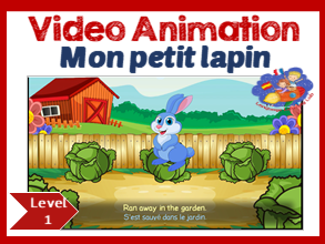 French song in video animation - Mon petit lapin - Learn French