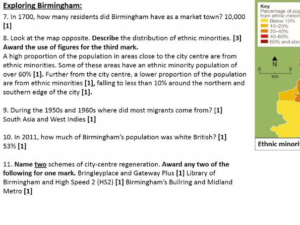 NEW OCR B Enquring Minds URBAN FUTURES 2017 12) Birmingham Topic Test WITH ANSWERS