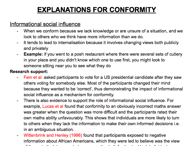 A-Level Psychology Social Influence: Explanations For Conformity