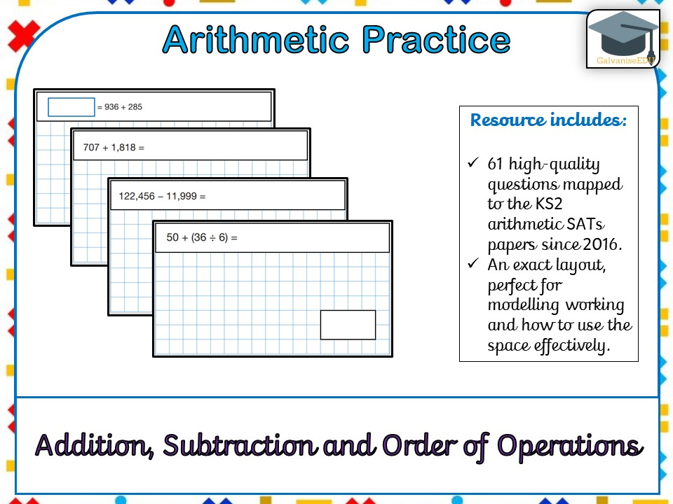 KS2 SATs Arithmetic Practice - Addition, Subtraction and Order of Operations