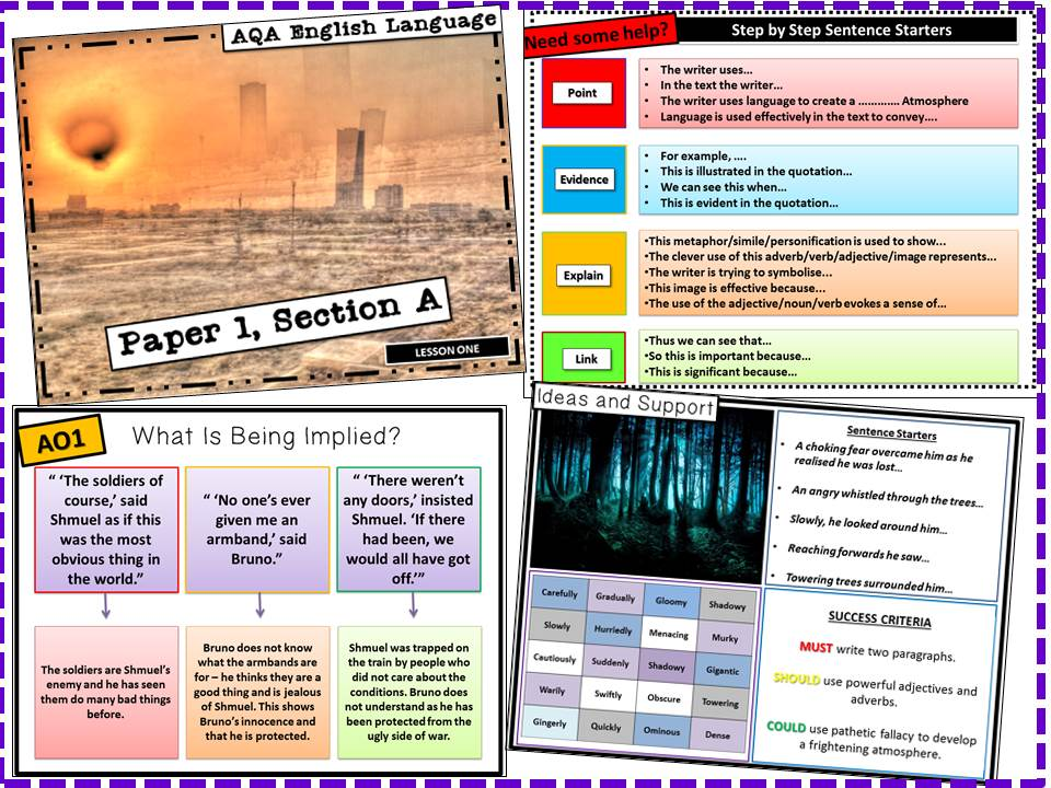 AQA GCSE English Language, Paper 1 Section A Lessons