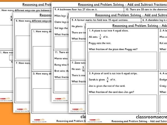Add and Subtract Fractions WRM Year 5 Reasoning and Problem Solving Pack