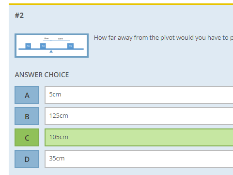 AQA physics exam style multiple choice revision question test for forces and motion