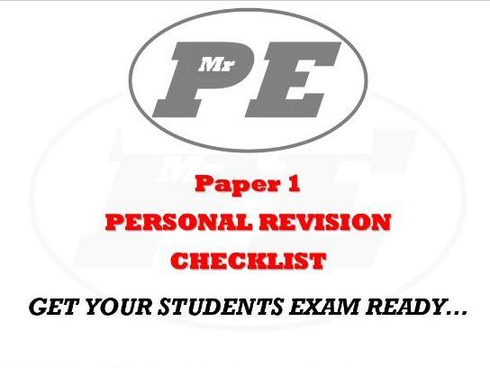 PERSONAL REVISION CHECKLIST Paper 1