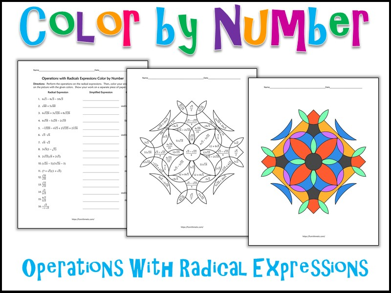 operations with radical expressions color by number by  operations with radical expressions color by number by charlottejames   teaching resources  tes