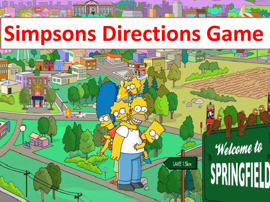 Prepositions of Place and Directions Simpsons Game - Grades K-1 - PowerPoint