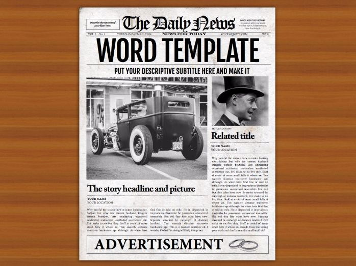 Microsoft Word Newspaper Template for Teachers and Students (Export as PDF, JPG, PNG)