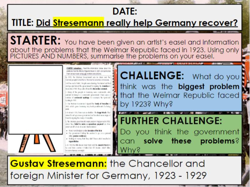 Edexcel 9-1 History GCSE: Paper 3 Germany: KT1 Lesson 7: Stresemann Recovery: 3c Guidance