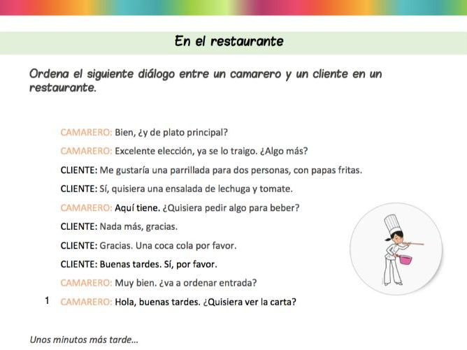 Spanish 101 - En el restaurante - Ordena las partes del diálogo - Fillable PDF included!