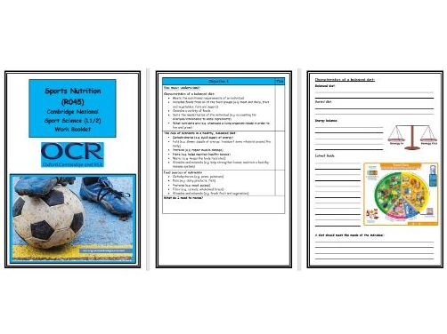 OCR Cambridge National in Sport Science - R045 - Sports Nutrition - Complete Work Booklet