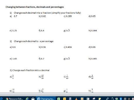 Changing between fractions, decimals and percentages