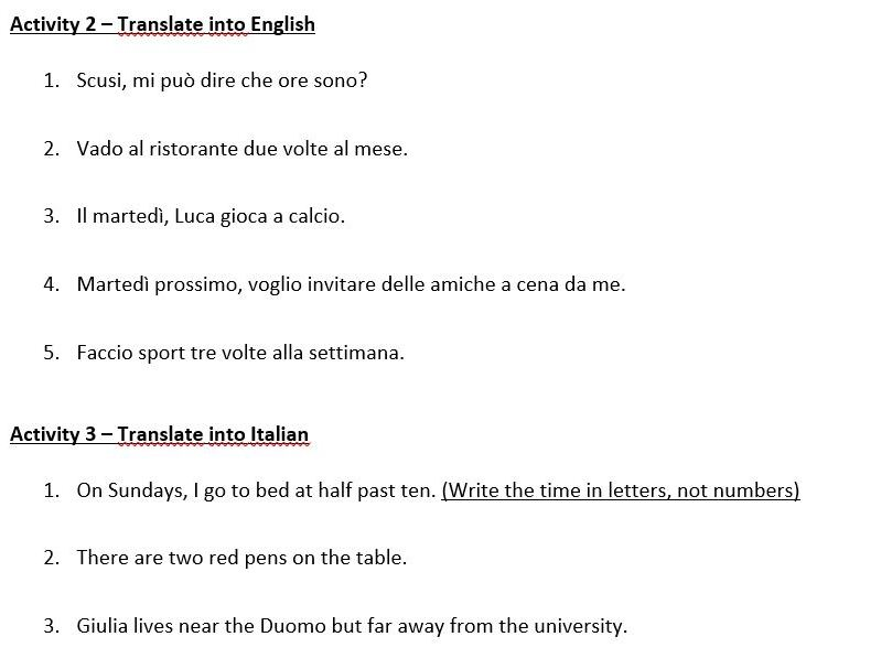 GCSE Italian Mock Exam - Grammar Test