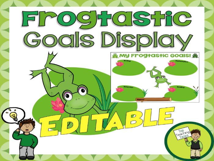 Frogtastic Student Goal Display - Frog Themed - USA - Editable