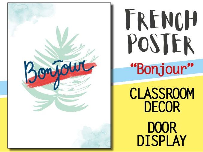 French classroom decor - 1 poster - BONJOUR Welcome door display