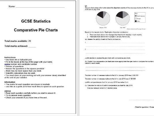 Comparative Pie Charts Exam Questions (GCSE Statistics)