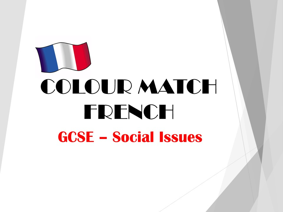 GCSE FRENCH - Social Issues - COLOUR MATCH