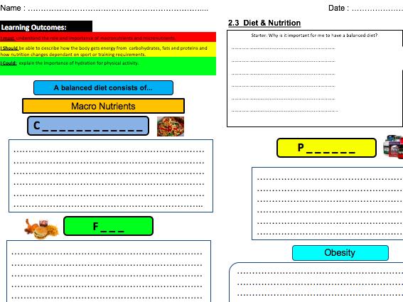Diet & Nutrition Learning Mat & Homework 2.3: OCR GCSE PE (2016)