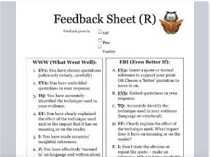 Time Saving Marking and Feedback and Student Reflection Sheets (AQA GCSE Spec.)