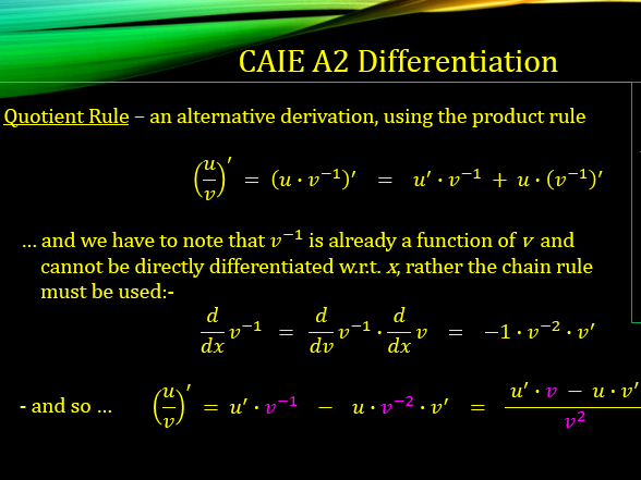 CAIE A2 9709 Maths Differentiation