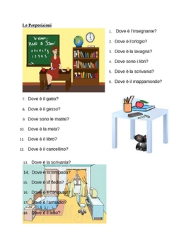 Preposizioni (Prepositions in Italian) Worksheet