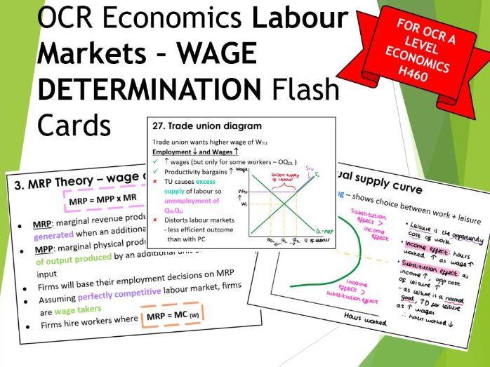 OCR A Level Economics WAGE DETERMINATION Flash cards for Labour markets