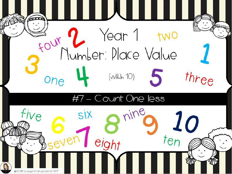 Year 1 - Place Value - Count One Less 0-10