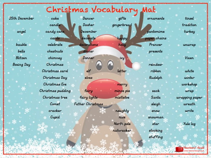 Christmas Vocabulary Mat