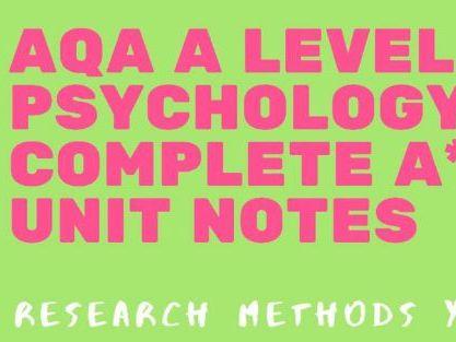 AQA A Level Psychology - Research Methods bundle