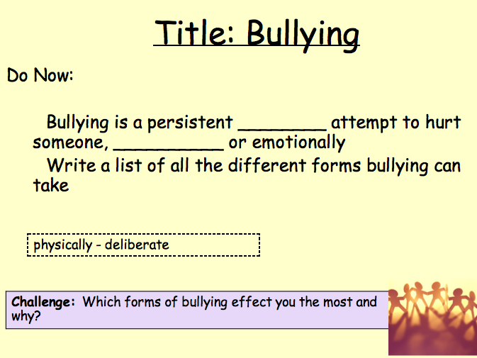 PSHE Relationships - bullying lesson 2